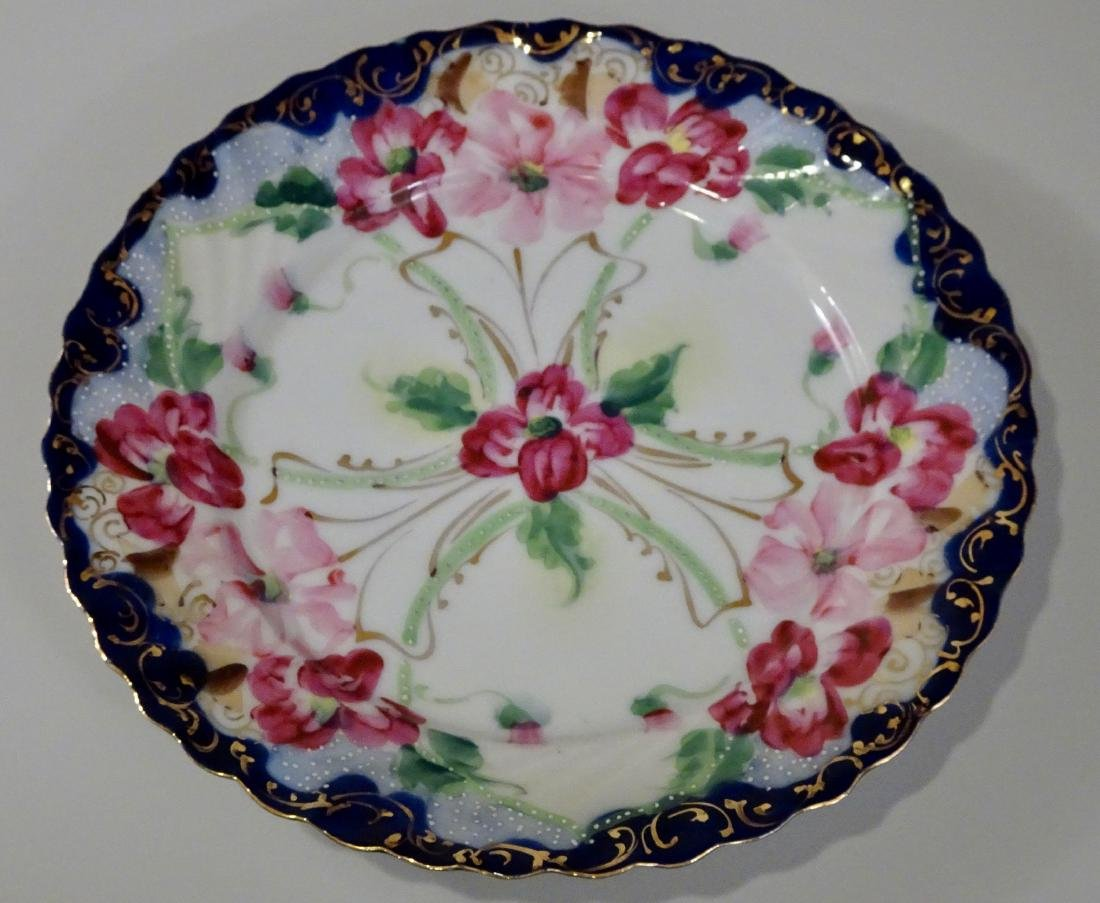 Vintage Moriage Porcelain Hand Painted Plate Lot of 2 - 2