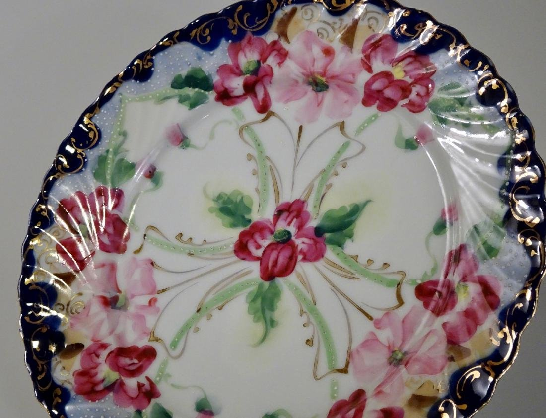 Vintage Moriage Porcelain Hand Painted Plate Lot of 2 - 3