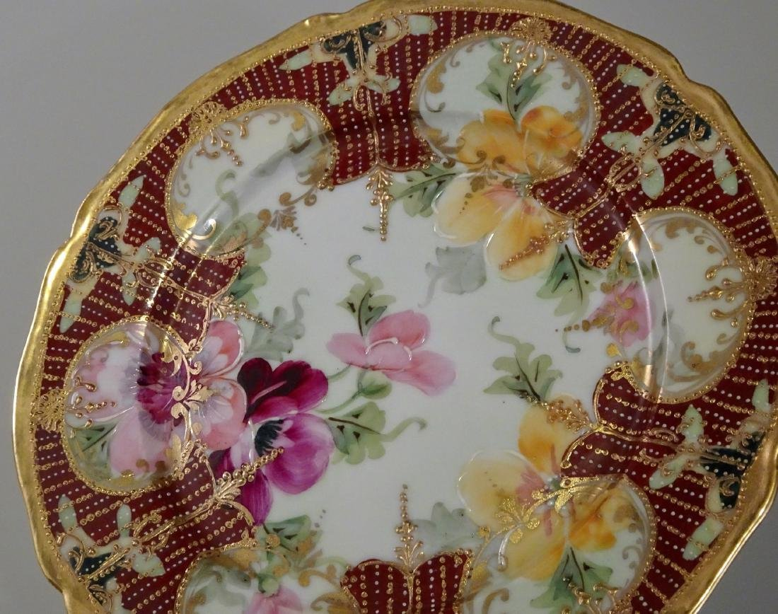 Vintage Moriage Porcelain Hand Painted Plate Lot of 2 - 6