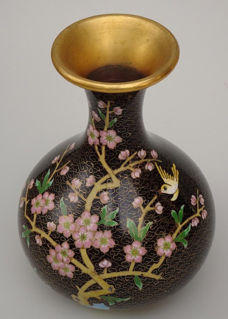 Black Cloisonne Enamel Cherry Blossom Vase