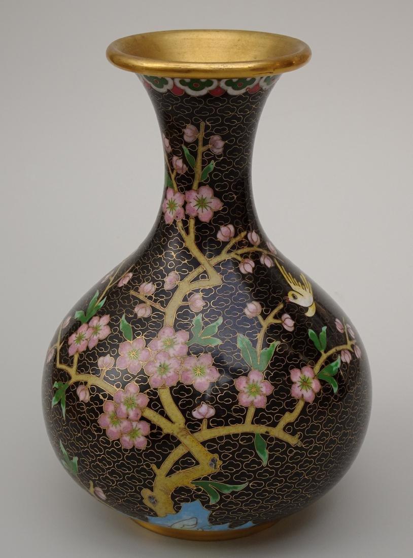 Black Cloisonne Enamel Cherry Blossom Vase - 2
