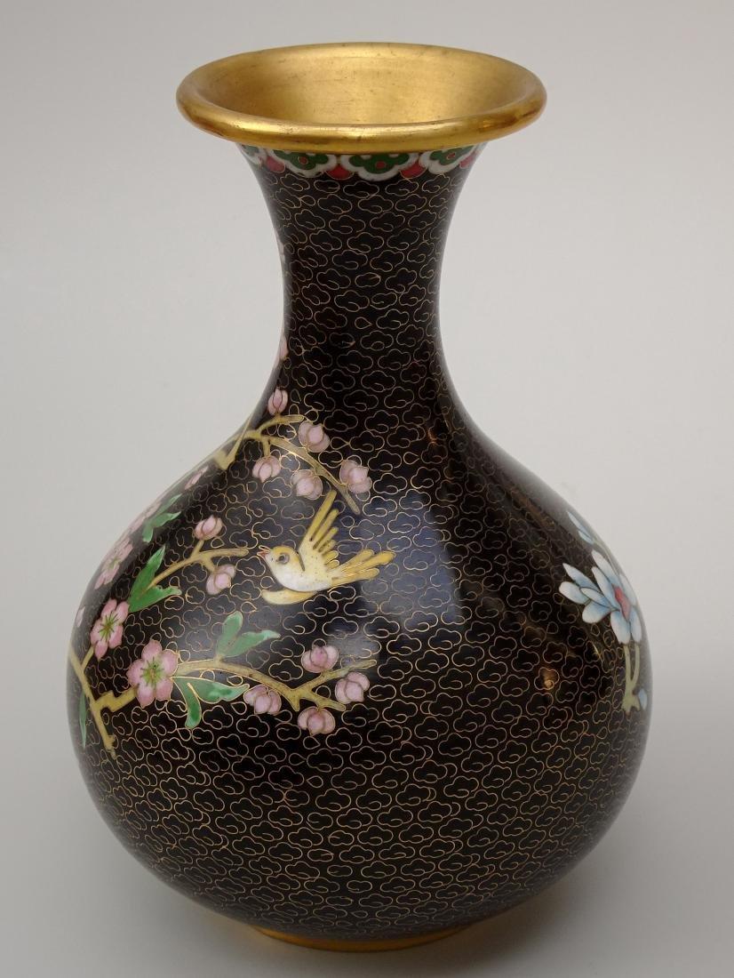 Black Cloisonne Enamel Cherry Blossom Vase - 3