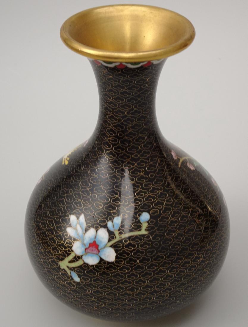 Black Cloisonne Enamel Cherry Blossom Vase - 4