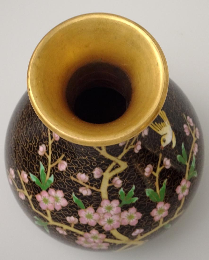 Black Cloisonne Enamel Cherry Blossom Vase - 5