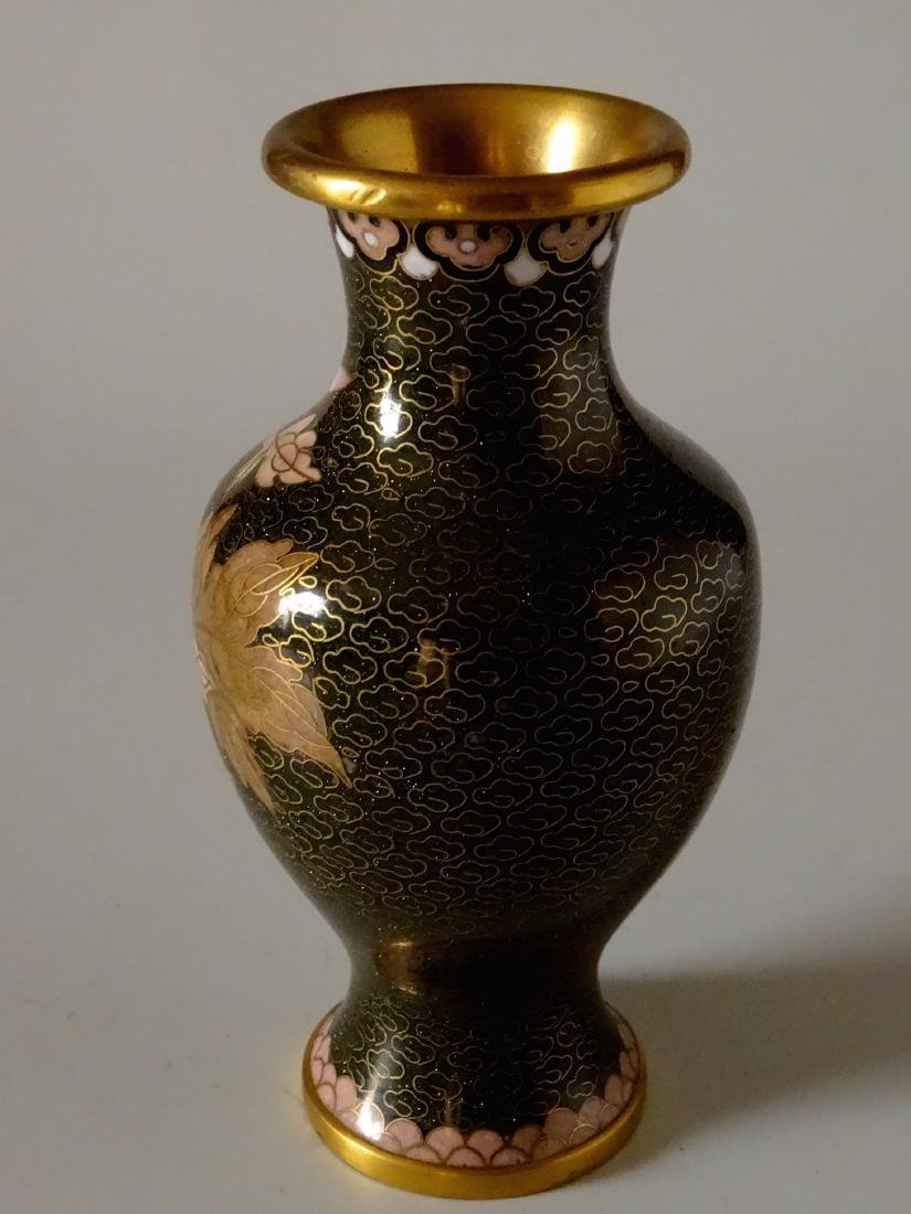 Beautiful Cloisonne Chinese Flower Vase Aventurine - 2