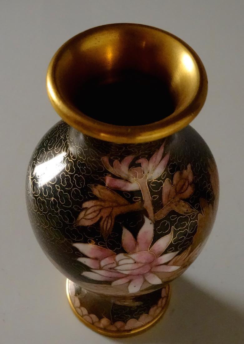 Beautiful Cloisonne Chinese Flower Vase Aventurine - 3