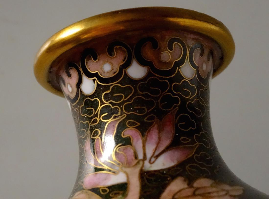Beautiful Cloisonne Chinese Flower Vase Aventurine - 6