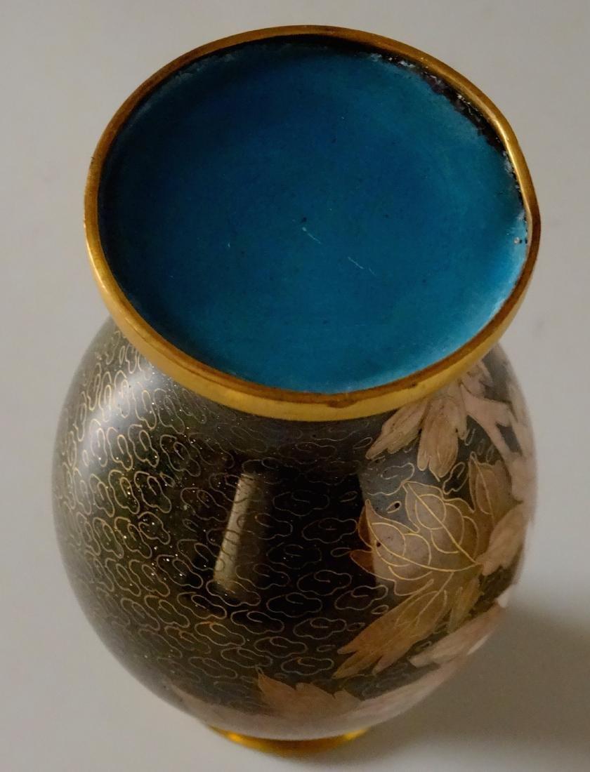 Beautiful Cloisonne Chinese Flower Vase Aventurine - 7