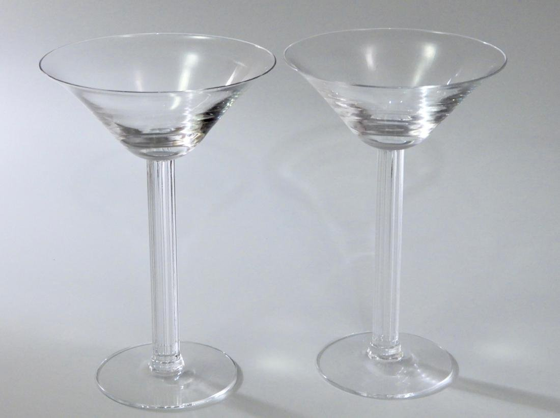 Vintage Art Deco Crystal Martini Fluted Column Stem Lot - 2