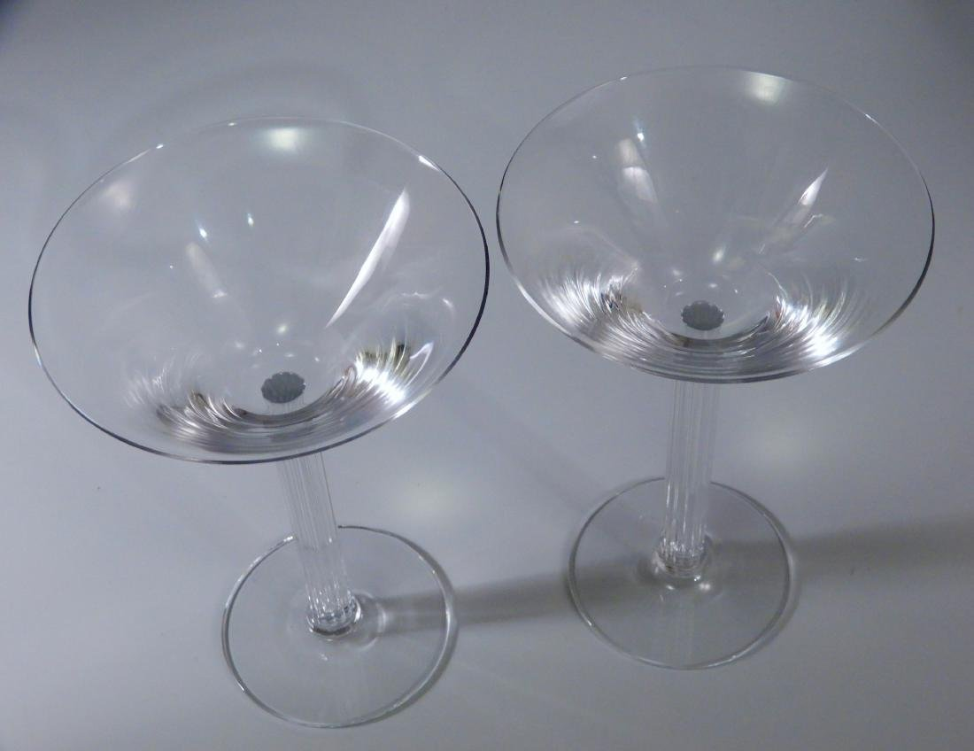 Vintage Art Deco Crystal Martini Fluted Column Stem Lot - 3