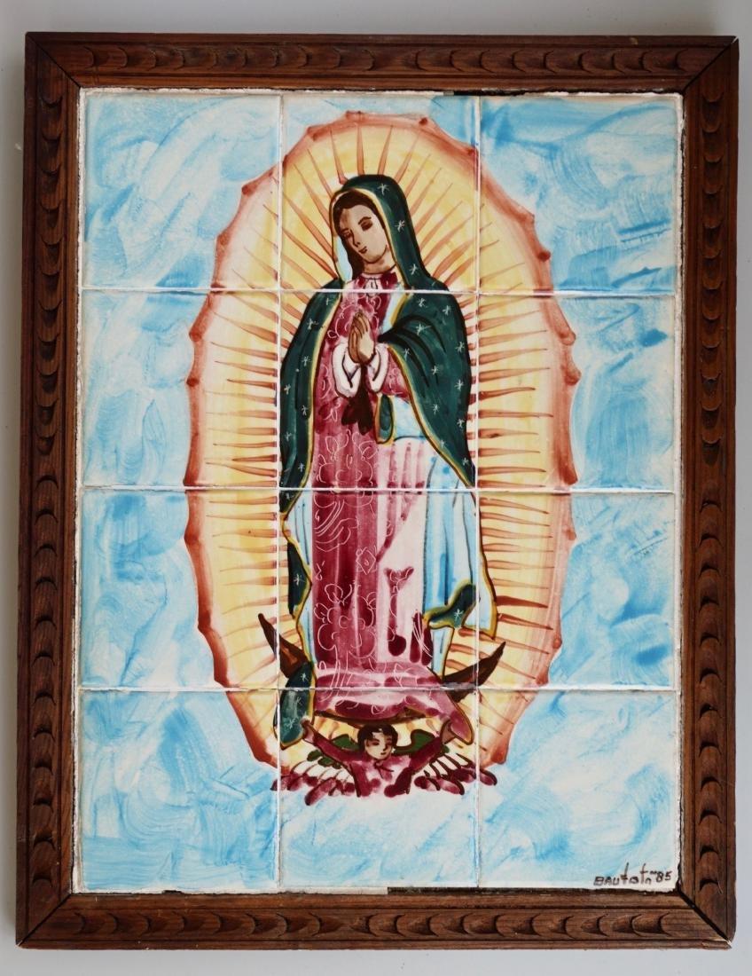 Virgen De Guadalupe Mexican Madonna Plaque Talavera