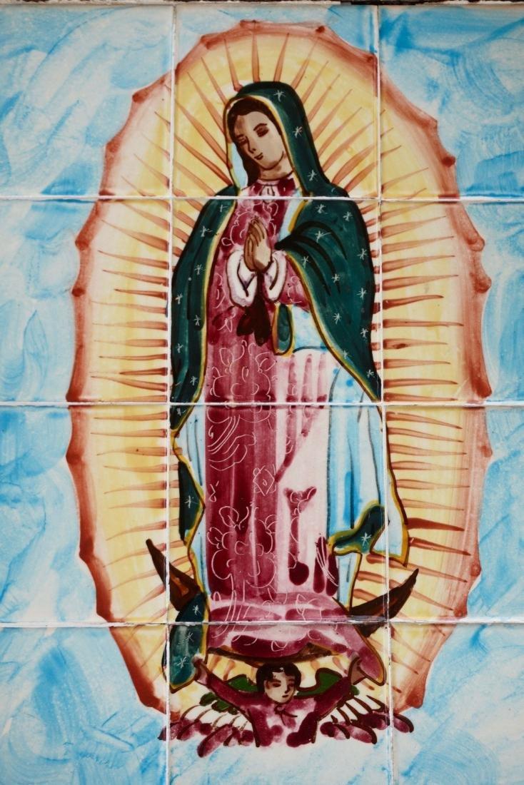 Virgen De Guadalupe Mexican Madonna Plaque Talavera - 2