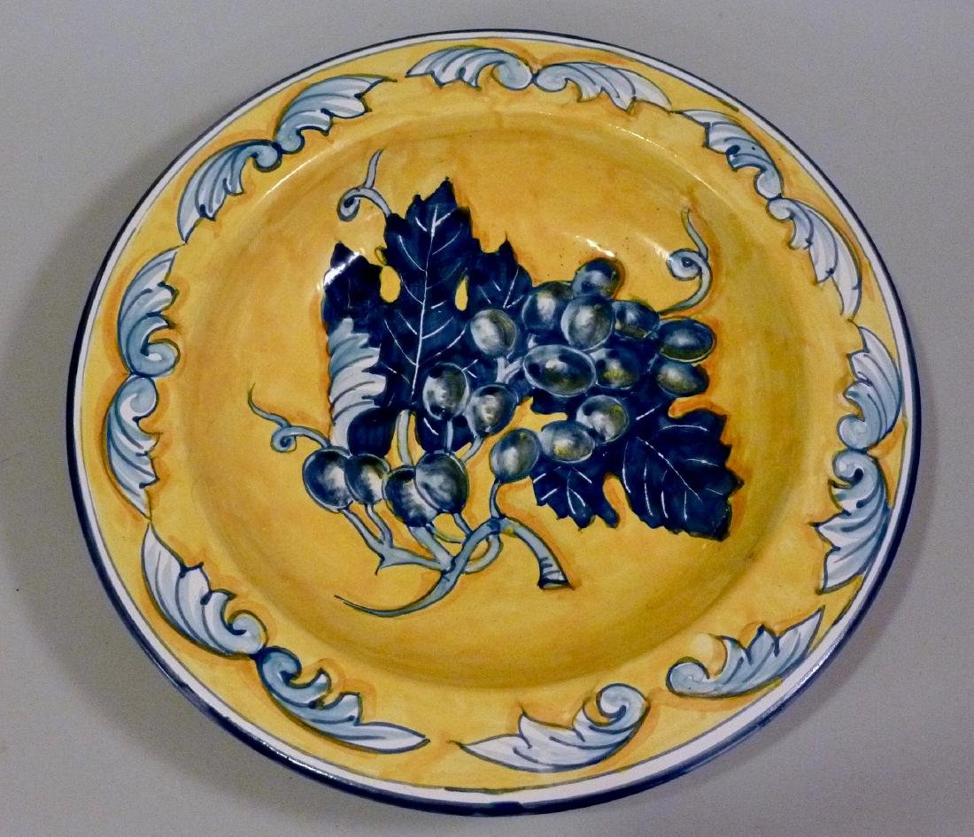 Blue Grapes Hand Painted Plate Wall Plaque Italian