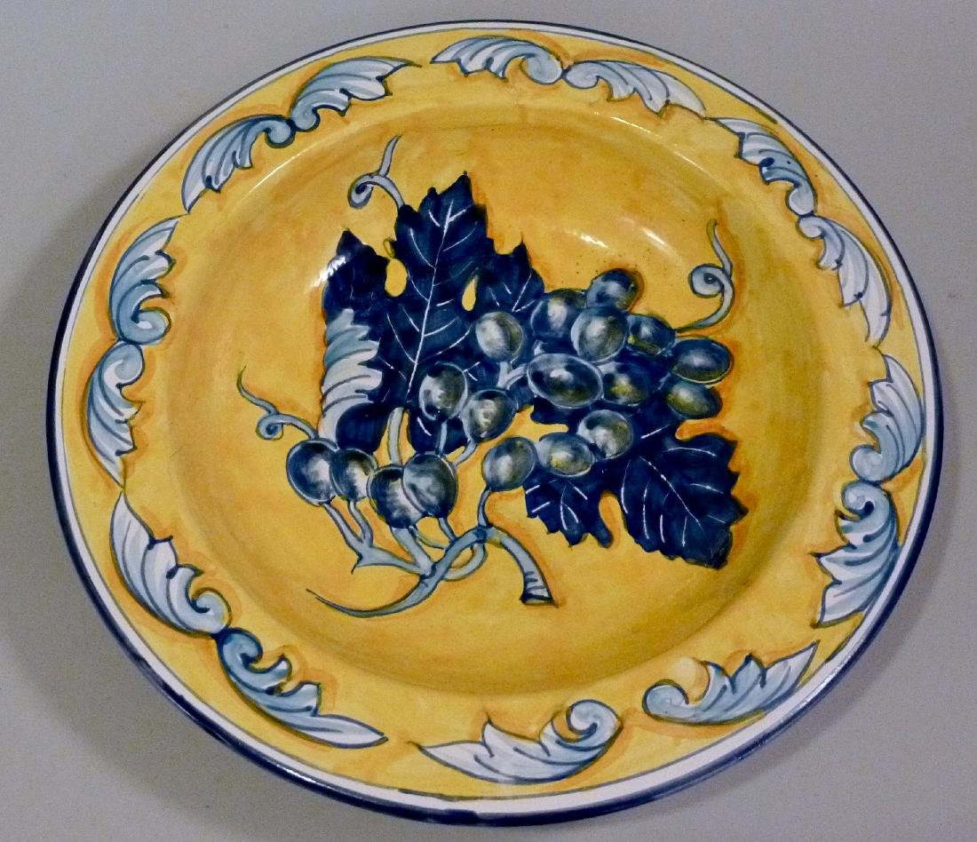 Blue Grapes Hand Painted Plate Wall Plaque Italian - 2