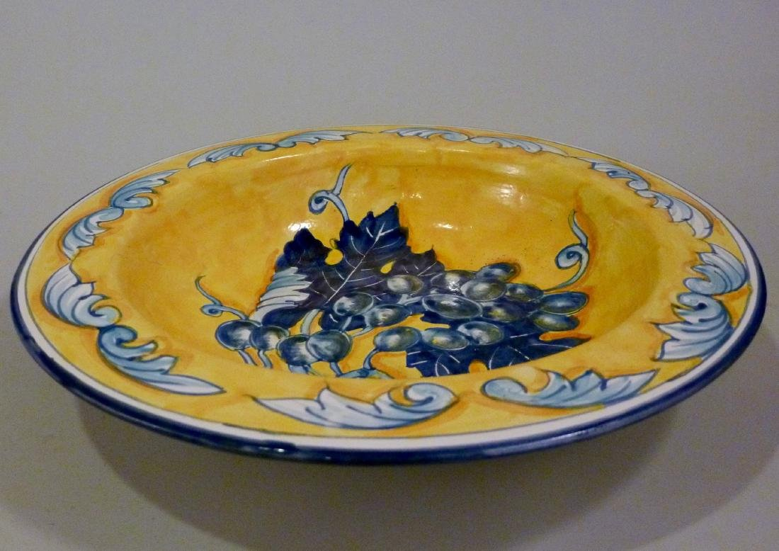 Blue Grapes Hand Painted Plate Wall Plaque Italian - 3