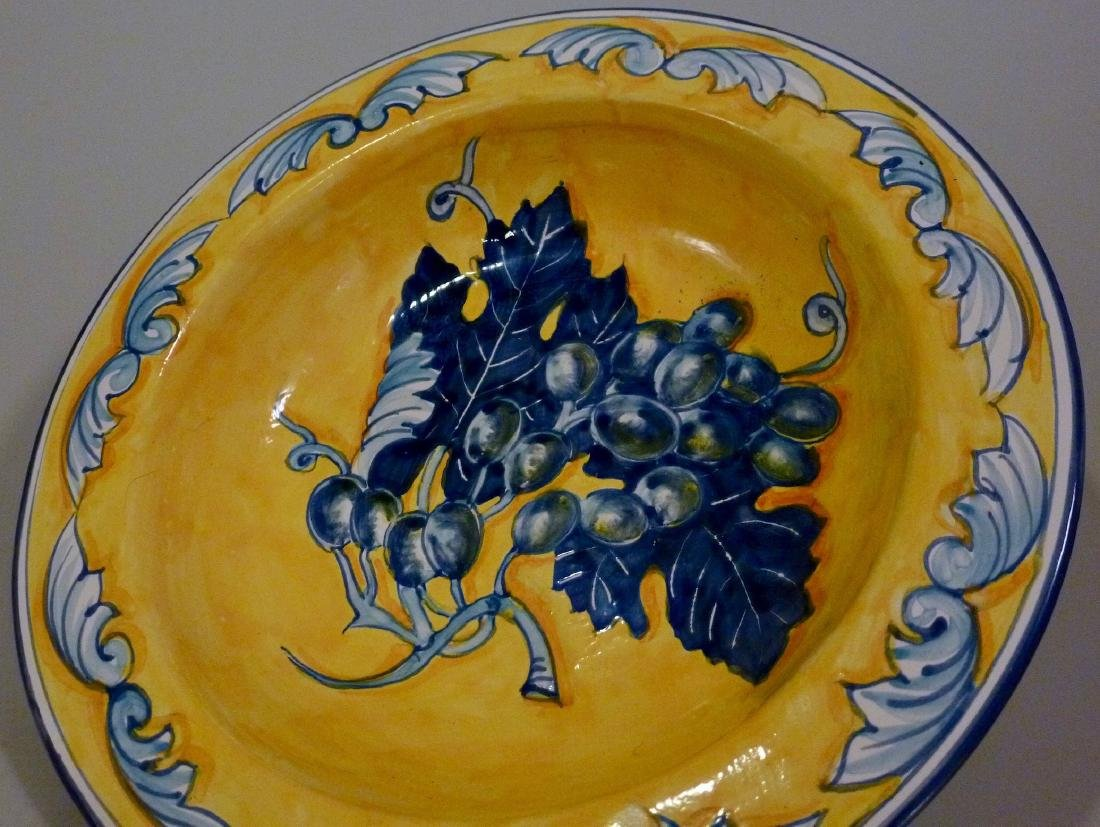 Blue Grapes Hand Painted Plate Wall Plaque Italian - 4
