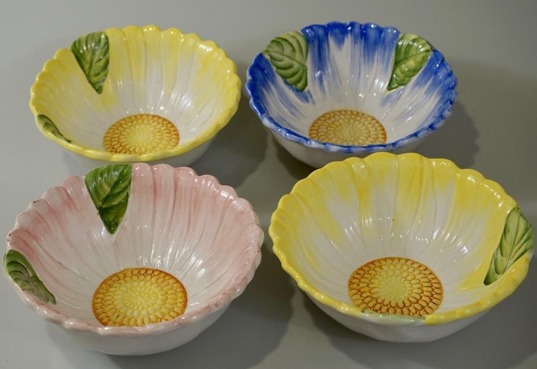 Lot of 4 Italian Ceramic Hand Painted Flower Bowls