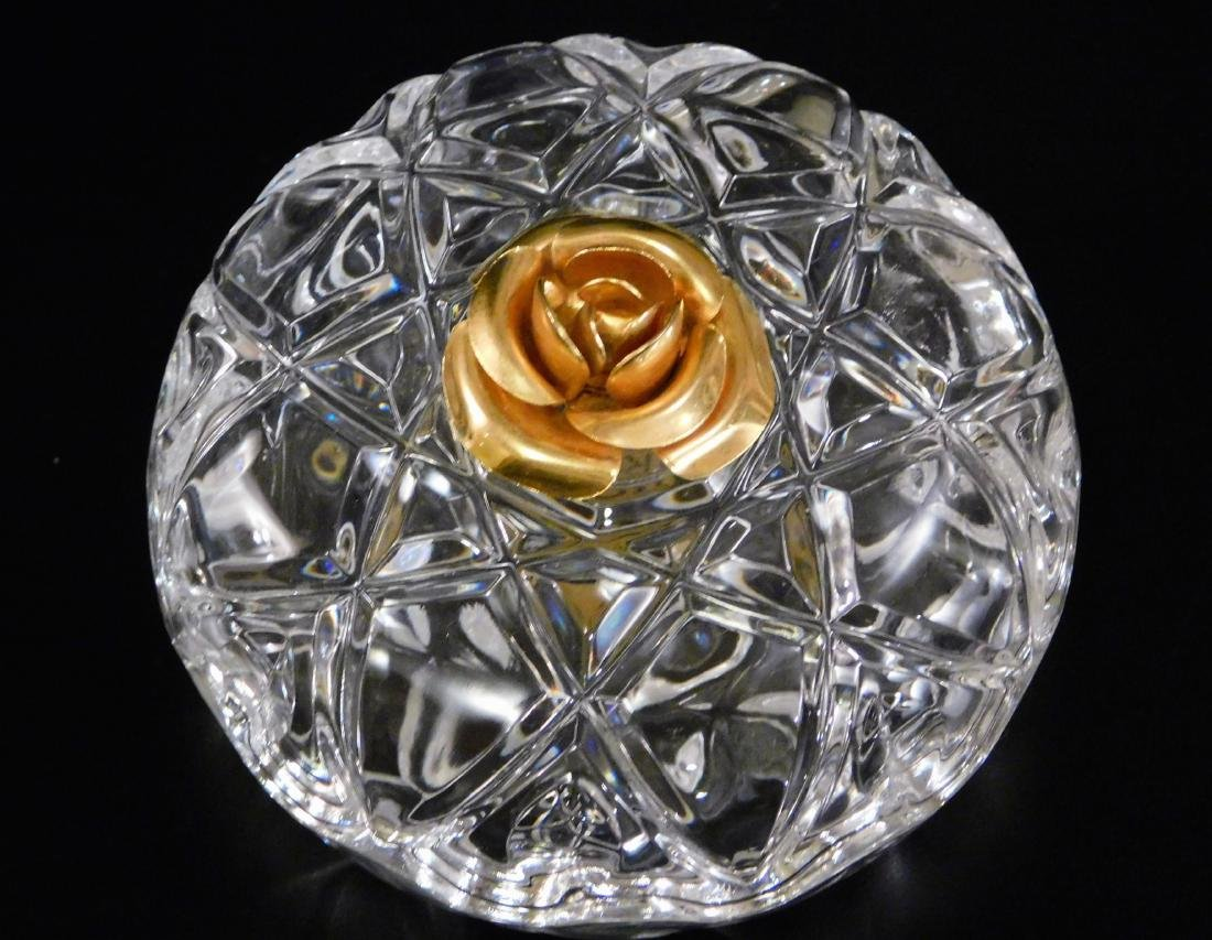 Italian Lead Crystal Vanity Jar Gilded Rose Lid - 2