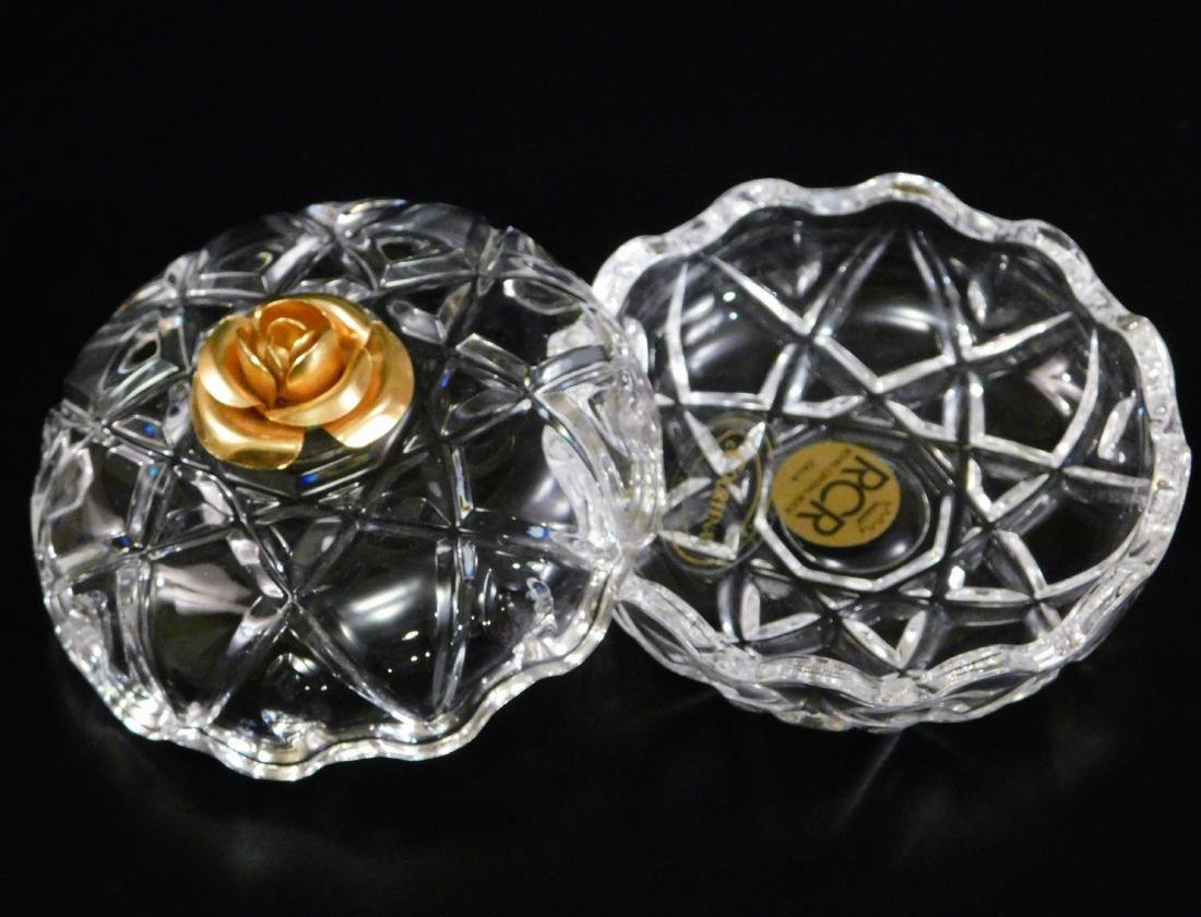 Italian Lead Crystal Vanity Jar Gilded Rose Lid - 3