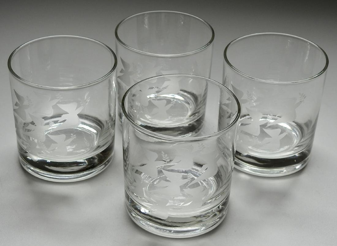 Tessellation Whiskey Glass Set Angel Dove Lot of 4