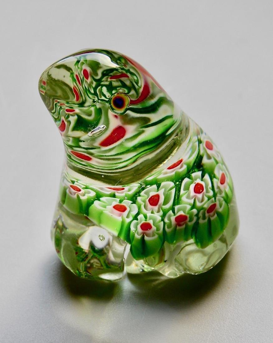 Green Frog Millefiori Art Glass Paperweight