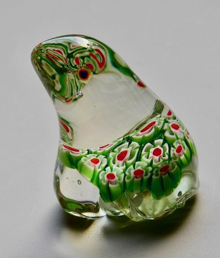 Green Frog Millefiori Art Glass Paperweight - 3