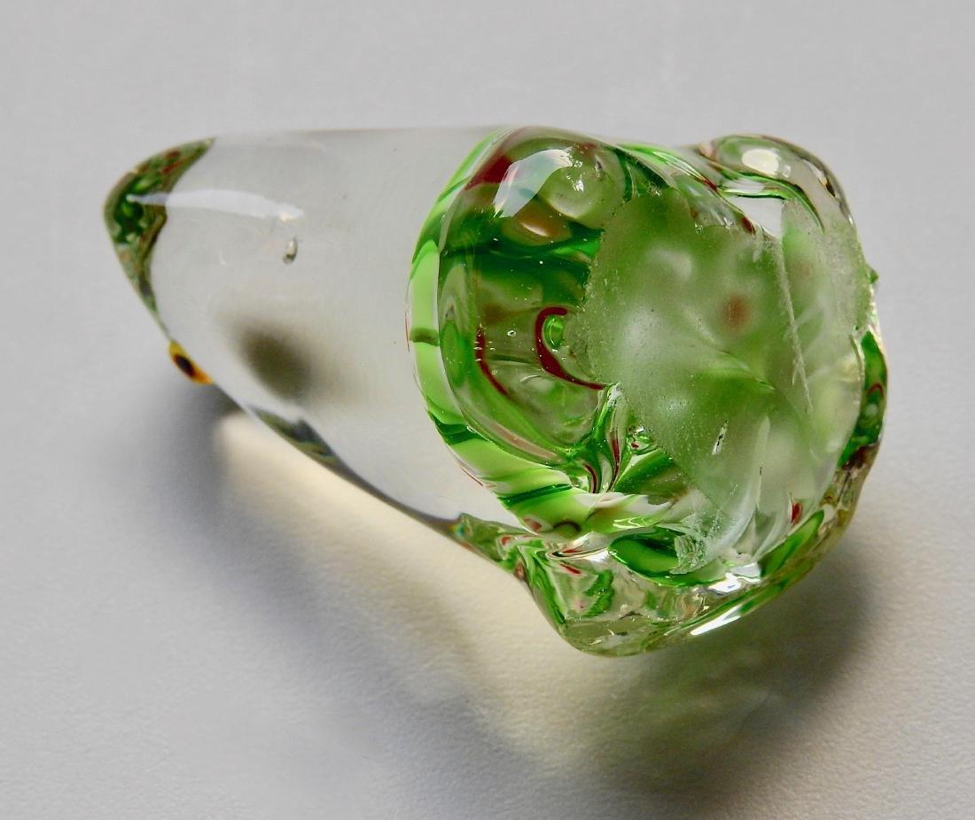 Green Frog Millefiori Art Glass Paperweight - 4
