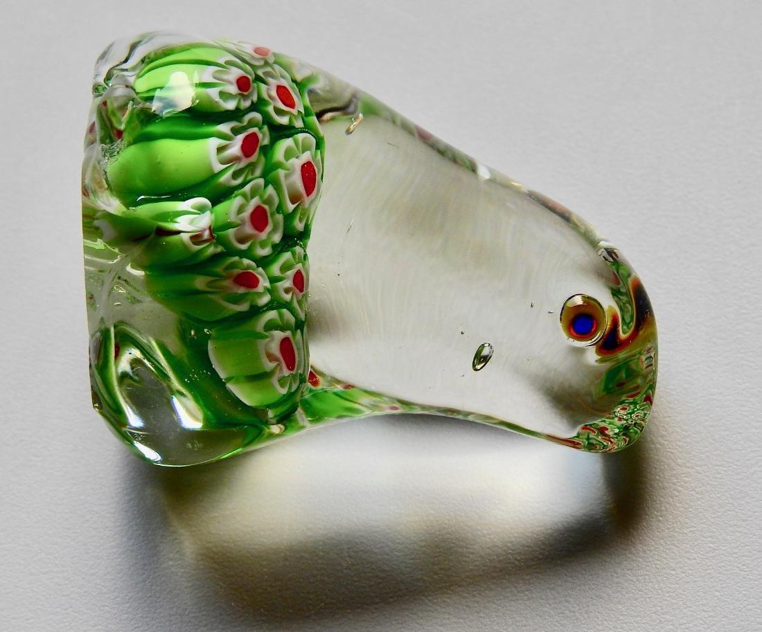 Green Frog Millefiori Art Glass Paperweight - 5