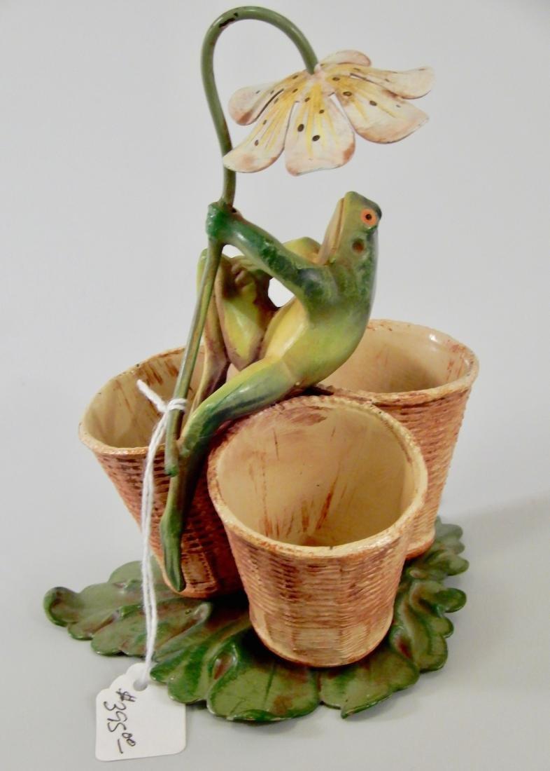 Mid Century Cast Metal Painted Tole Frog Vase