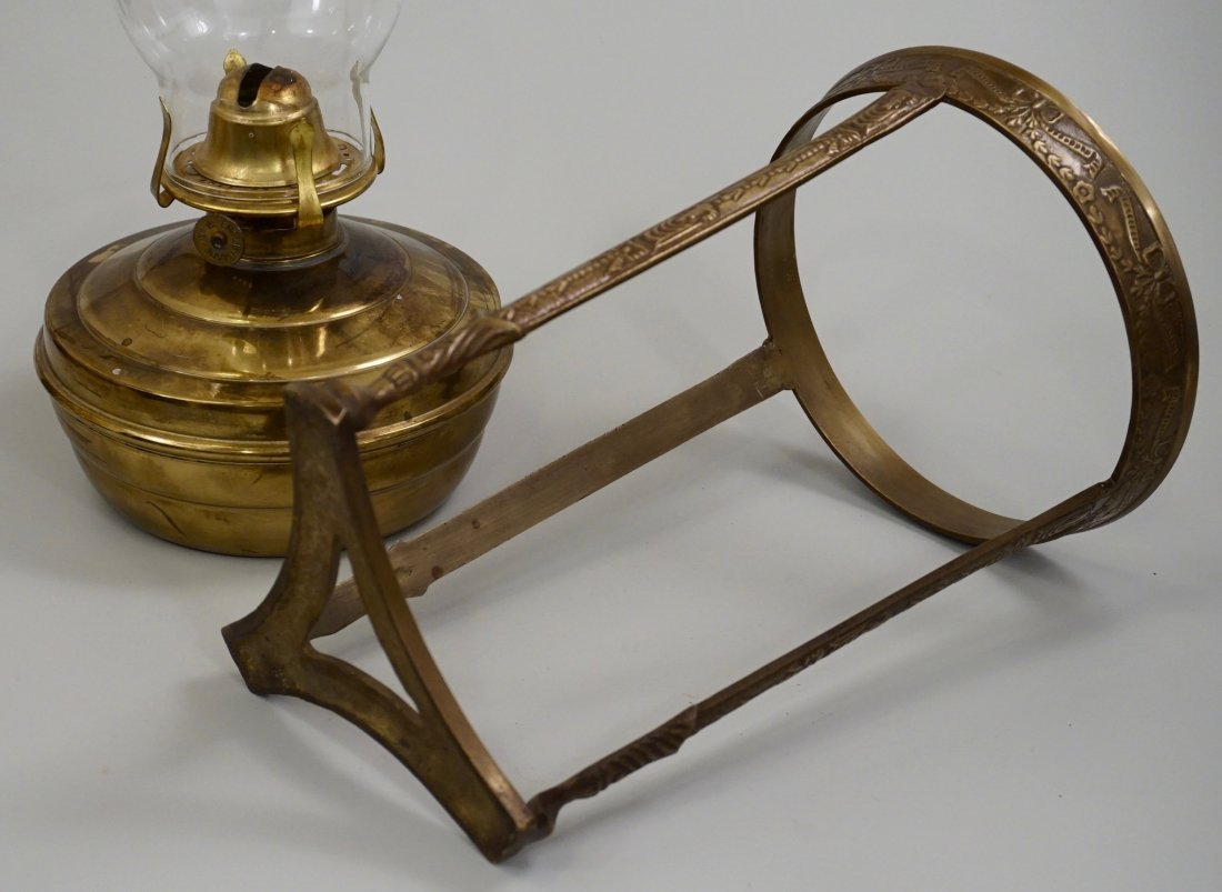 Tripod Brass Base Kerosene Oil Lamp Glass Chimney - 4