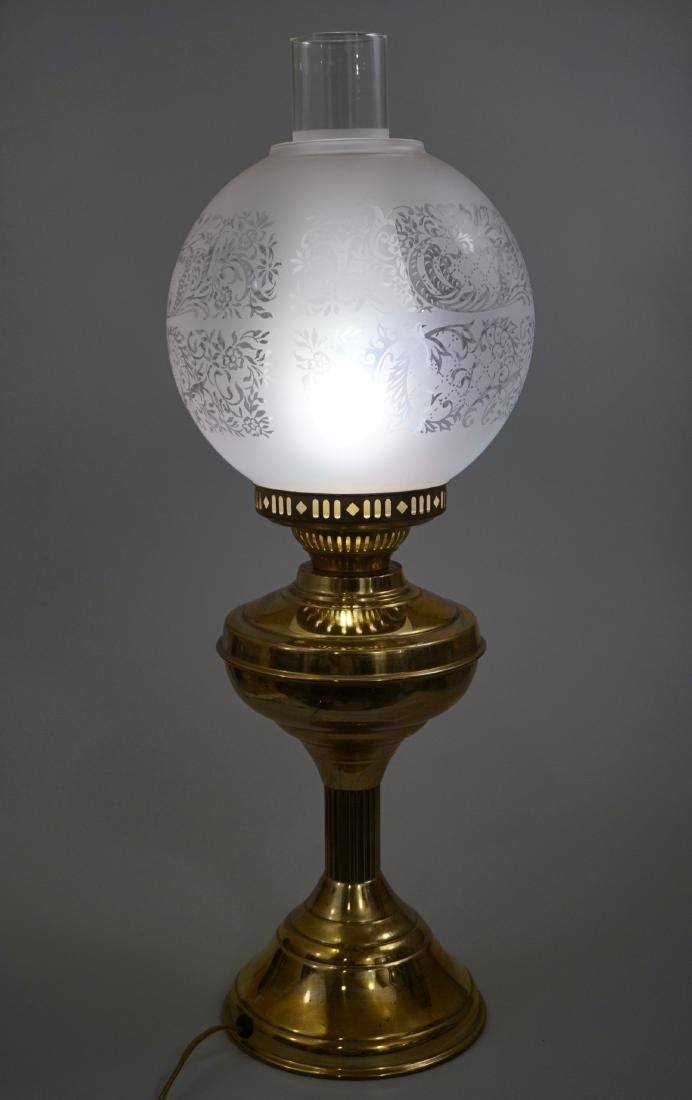 Kerosene Style Brass Table Lamp Etched Globe Shade