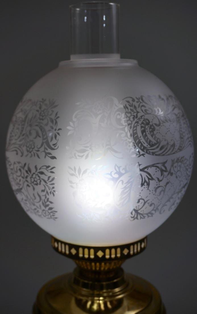 Kerosene Style Brass Table Lamp Etched Globe Shade - 2