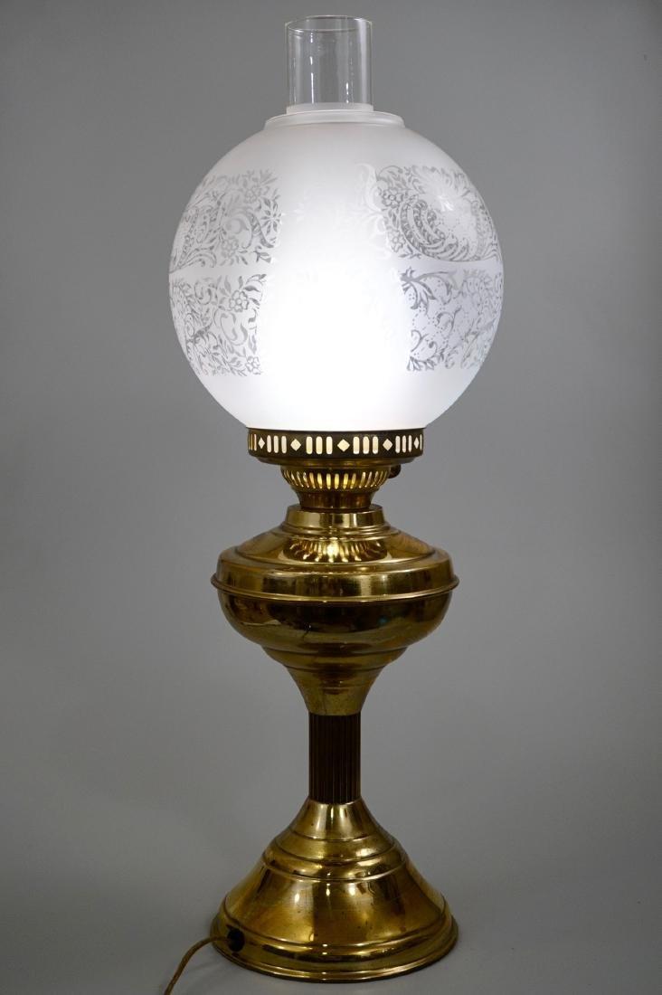Kerosene Style Brass Table Lamp Etched Globe Shade - 3