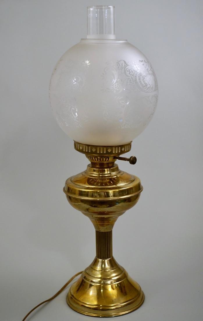 Kerosene Style Brass Table Lamp Etched Globe Shade - 4