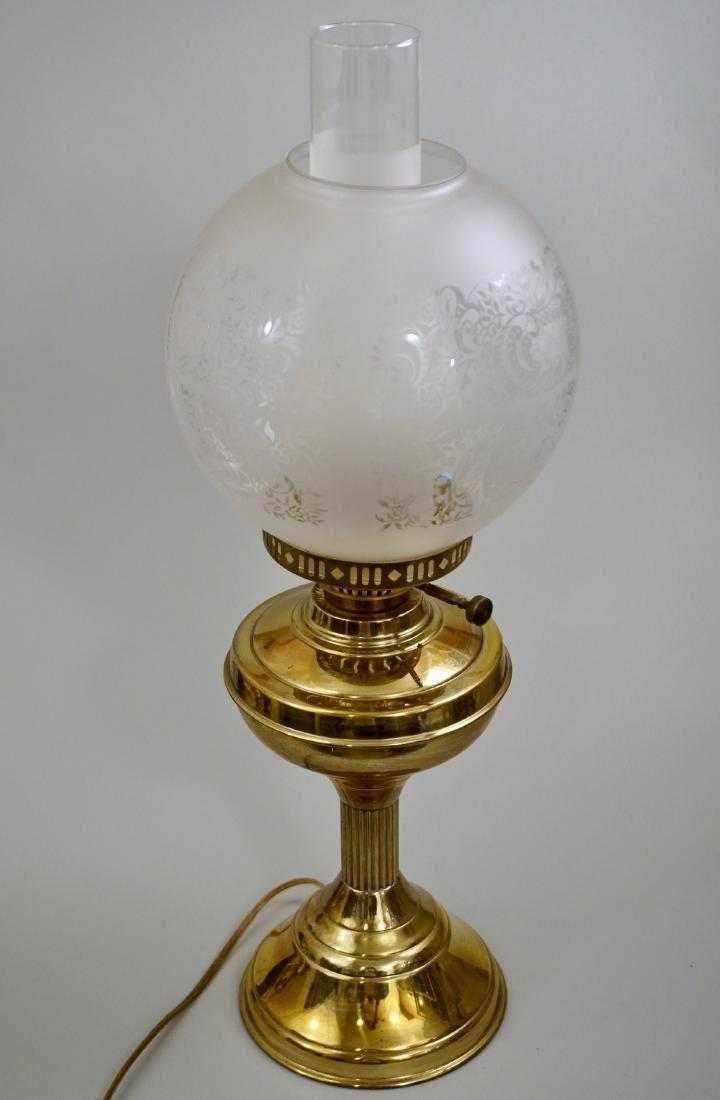 Kerosene Style Brass Table Lamp Etched Globe Shade - 7