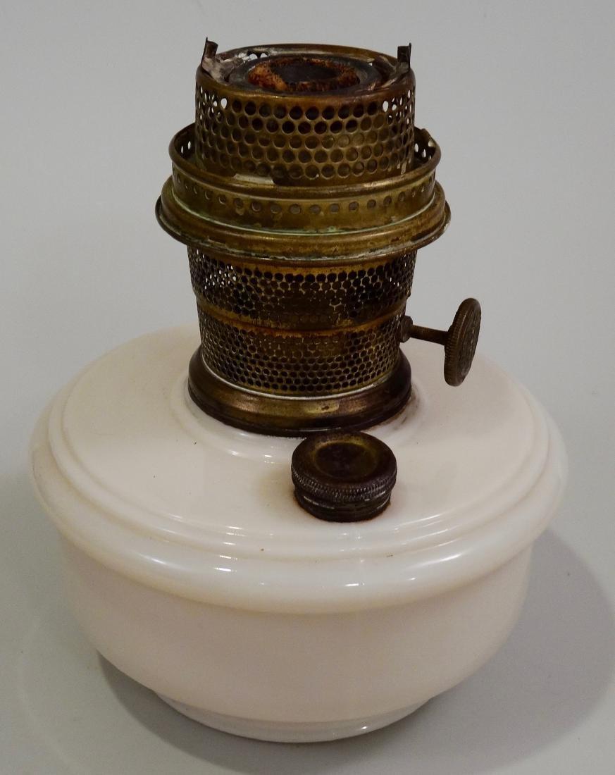 Vintage Aladdin Kerosene Lamp Glass Font Brass Burner - 3