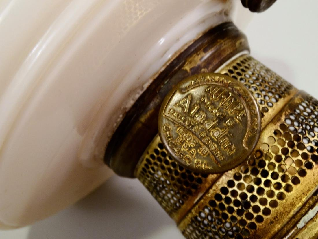 Vintage Aladdin Kerosene Lamp Glass Font Brass Burner - 4