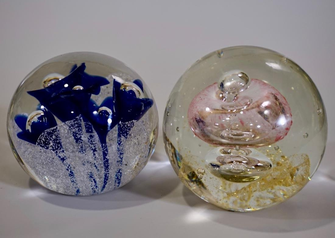 Vintage Art Glass Paperweight Lot of 2