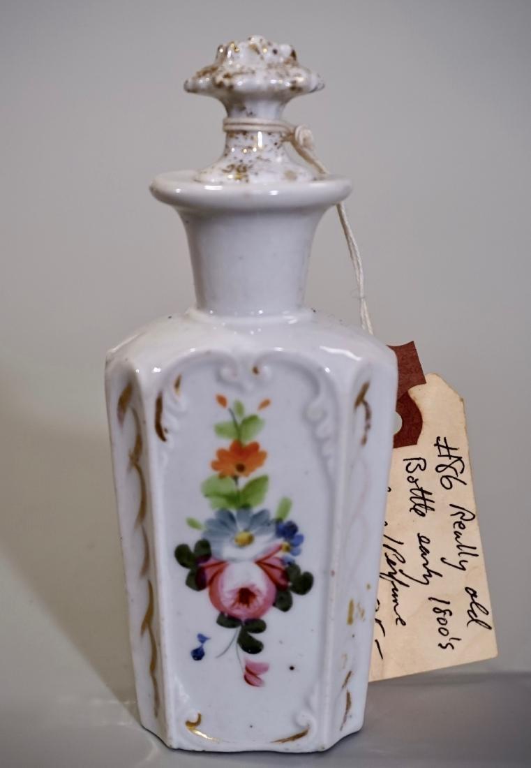 Antique Porcelain Barber Scent Bottle Hand Painted