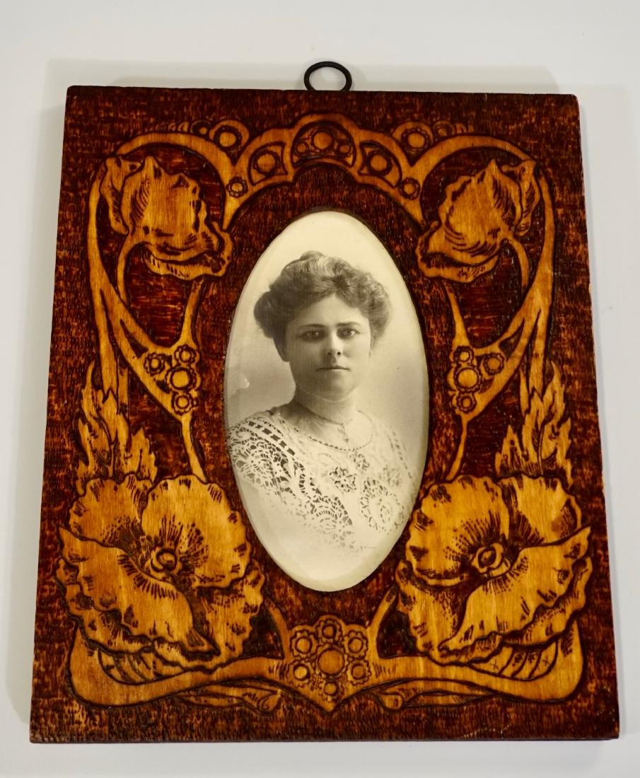 Antique c 1910 Pyrography Poppies Picture Frame Russian