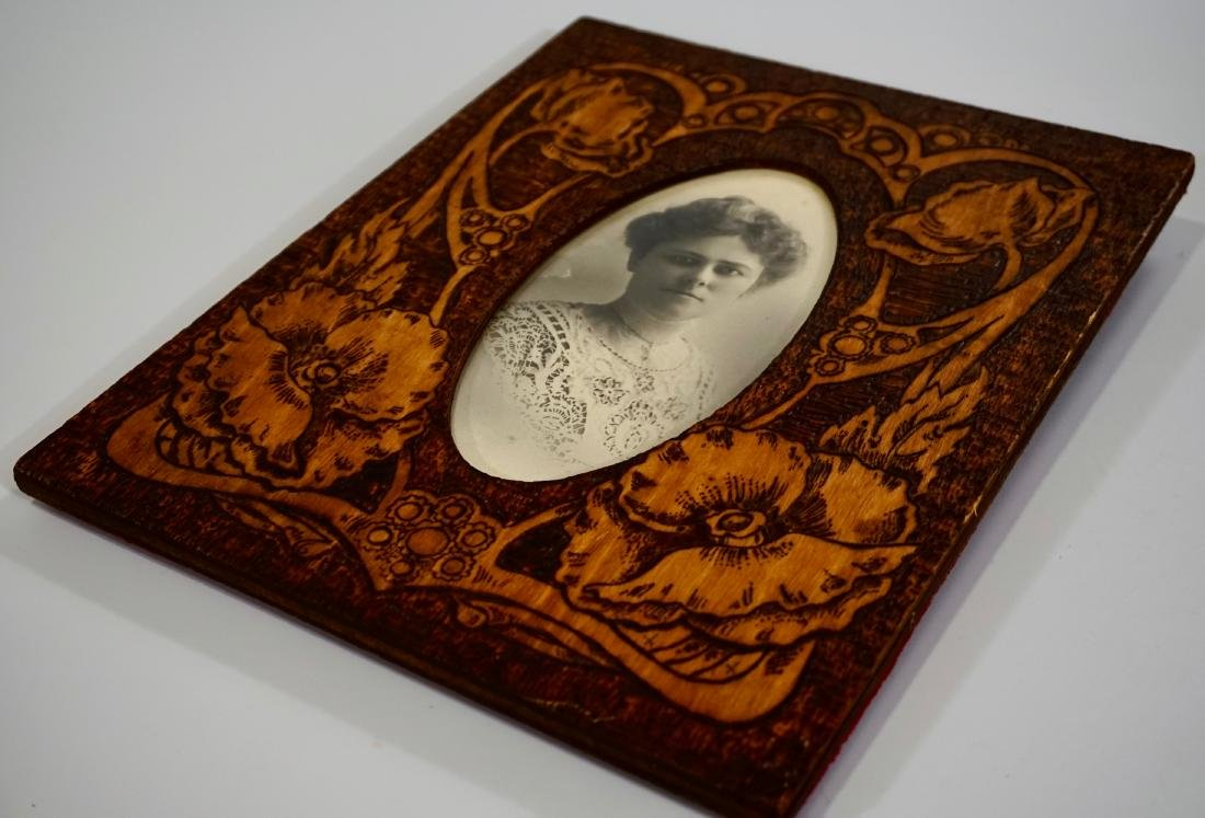 Antique c 1910 Pyrography Poppies Picture Frame Russian - 2