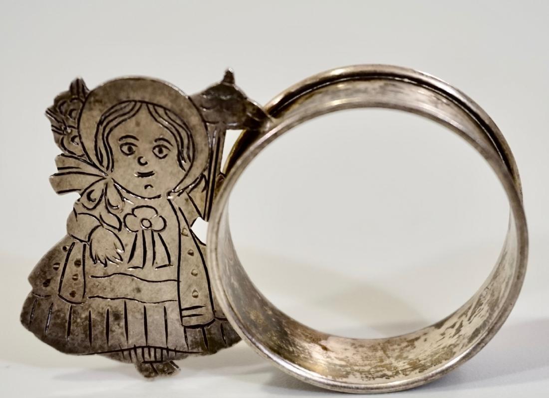 Sterling Silver Parasol Girl Napkin Ring Signed Sara