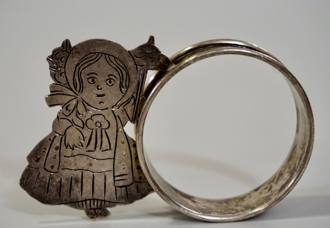 Sterling Silver Parasol Girl Napkin Ring Signed Sara - 2