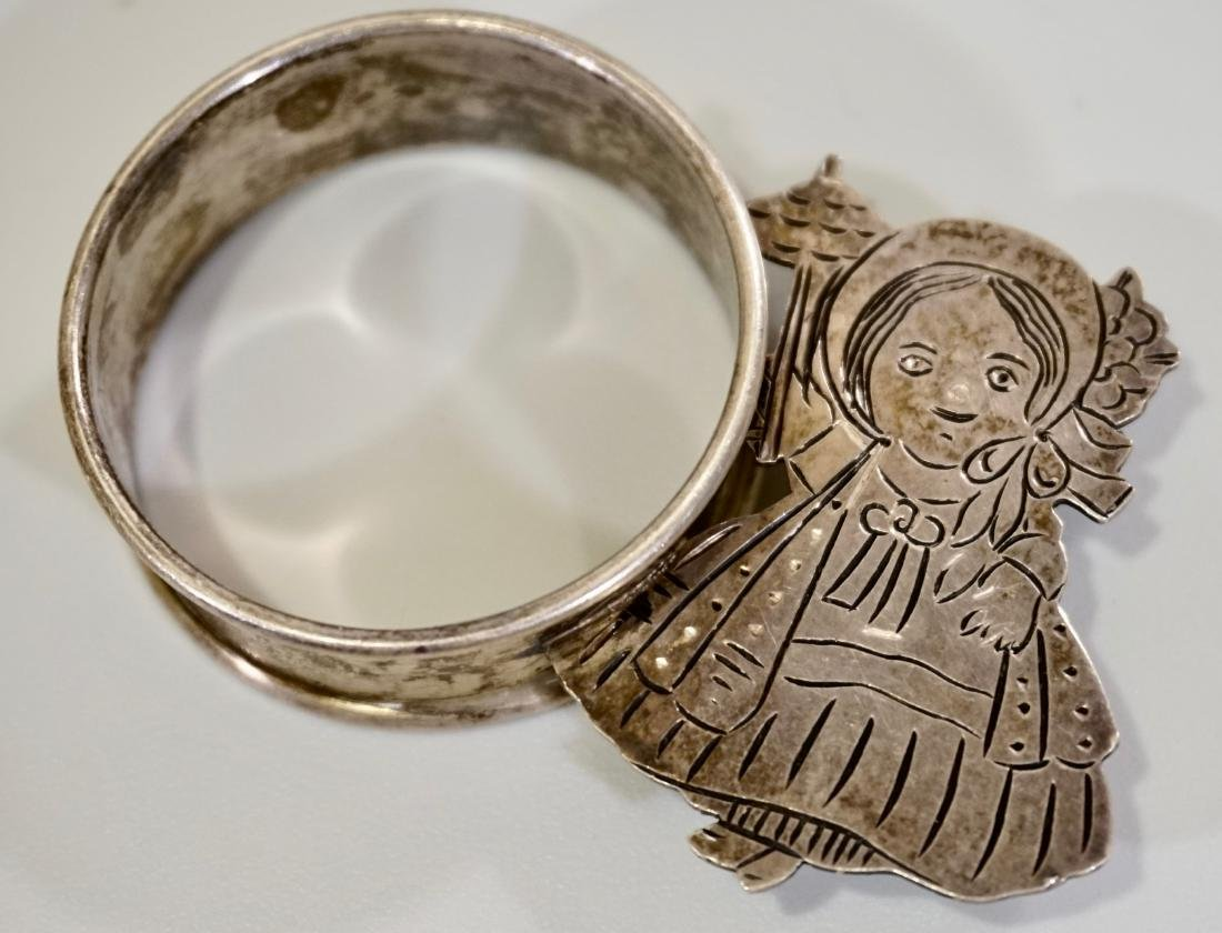 Sterling Silver Parasol Girl Napkin Ring Signed Sara - 7