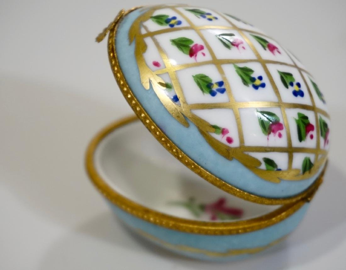 Limoges Porcelain Egg Box Dumont France Hand Painted
