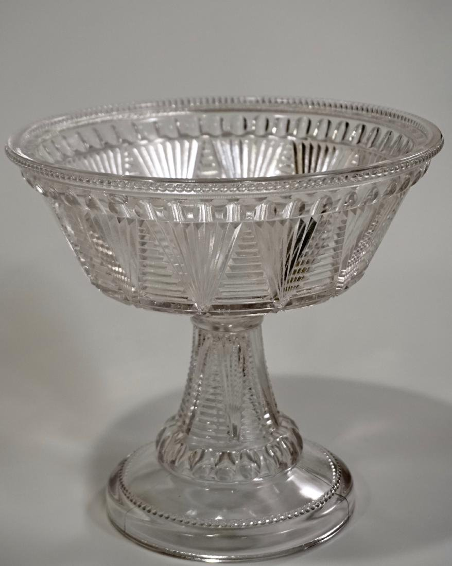 Antique Early American Pattern Glass Compote Pressed