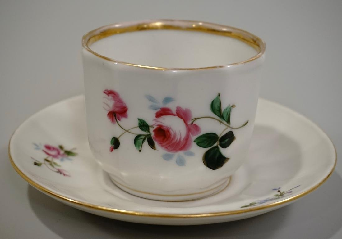 Mid 19th Century English Coffee Can Cup Saucer Hand