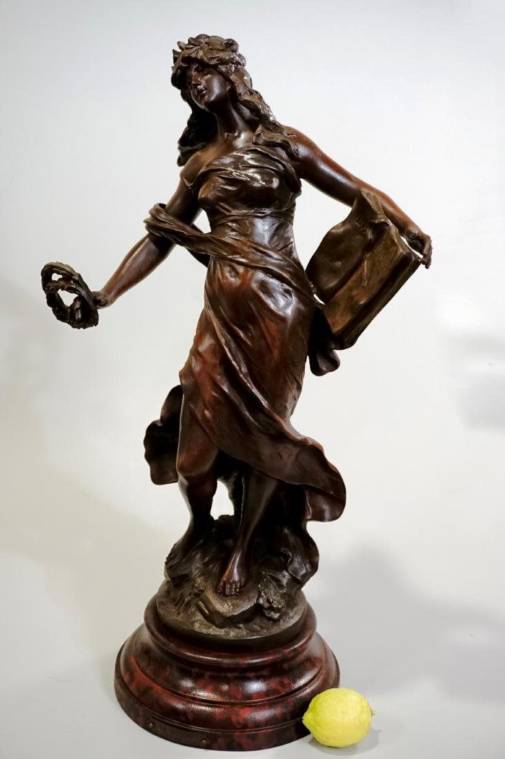 Antique French Spelter Statue La Gloire After Auguste