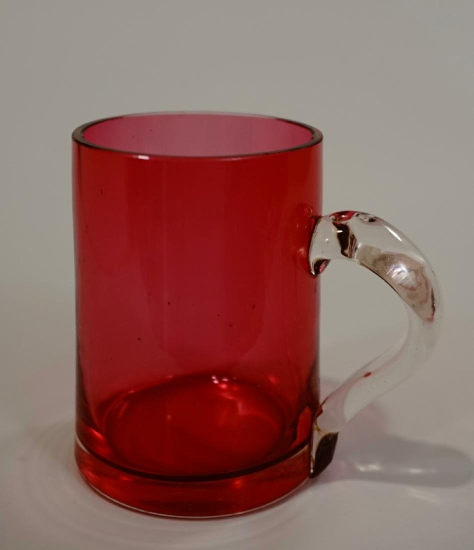 Antique Victorian Cranberry Glass Mug Clear Handle