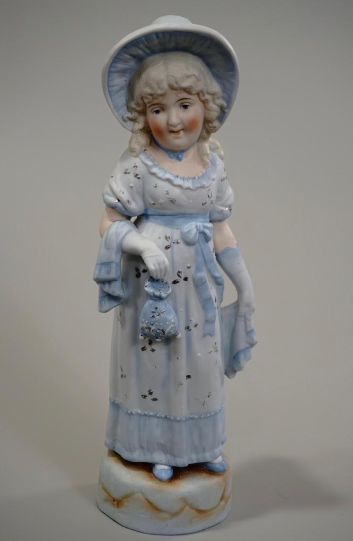 Antique Bisque Porcelain Figurine Blue Dress Girl in
